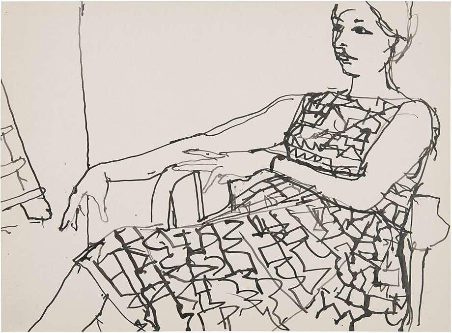 """""""untitled"""" (c. 1958-66) ink on paper by Richard Diebenkorn Photo: Unknown"""