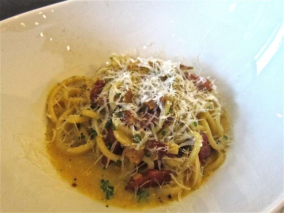 Bucatini carbonara at Osteria Mazzantini. Photo: Alison Cook