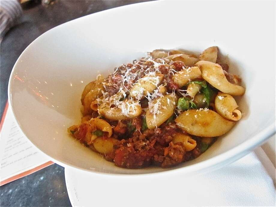 Pasta with ragu Bolognese, $5 at  Happy Hour at Osteria Mazzantini. Photo: Alison Cook