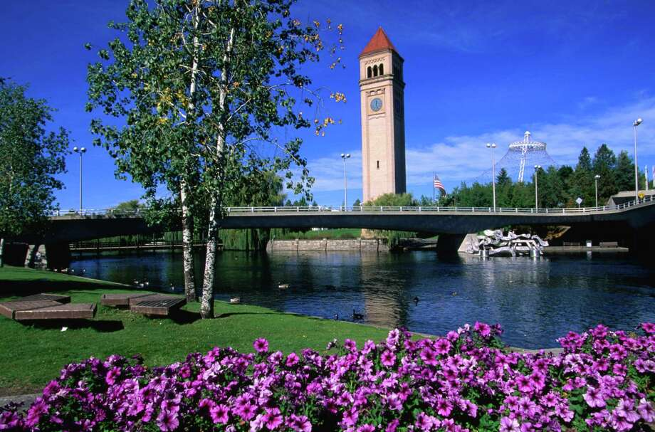 A view of the clock tower in Riverfront Park from across the Spokane River. Photo: John Elk, Getty Images / Getty Images