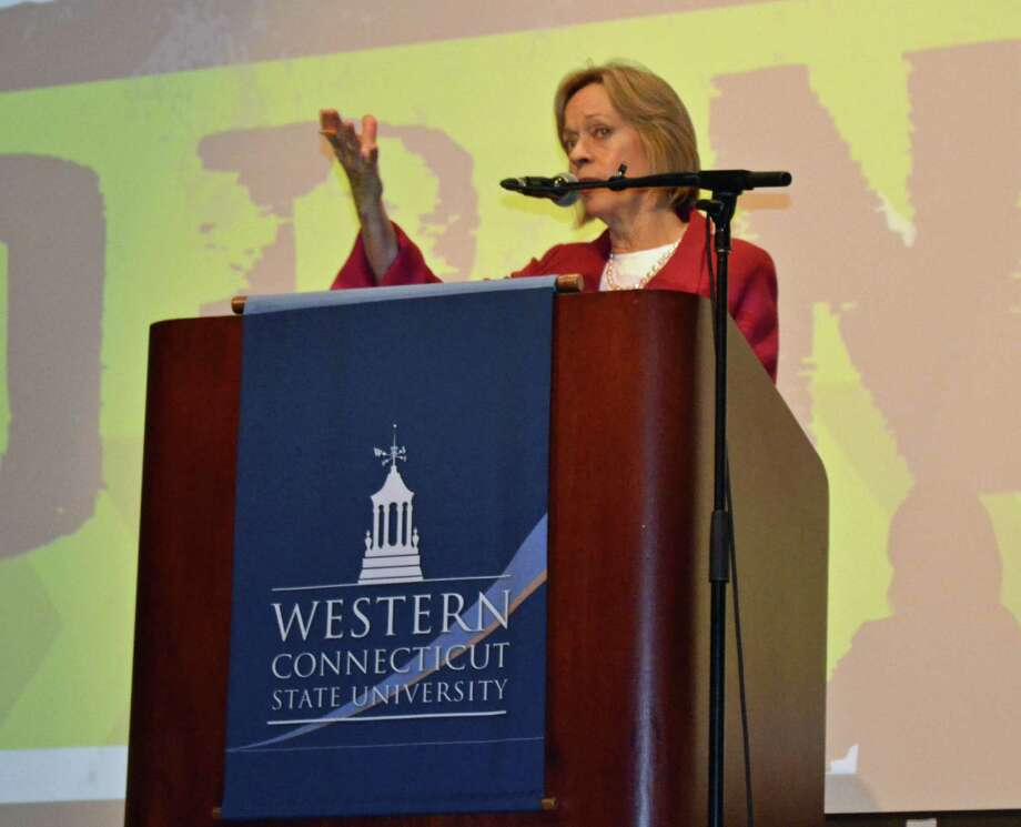 State Rep. Terrie Wood (R-141) moderated a debate Oct. 30 organized by Midwestern Connecticut Council on Alcoholism and held at Western Connecticut State University on the legalization of marijuana for recreational use. Photo: Contributed Photo / Darien News