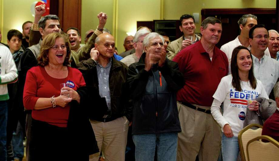 Republican supporters wait for election results at the Italian Center in Stamford, Conn., on Tuesday, November 5, 2013. Photo: Lindsay Perry / Stamford Advocate
