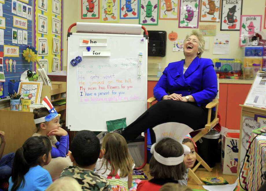 Mayor Annise Parker smiles during her kindergarten classroom visit at Roberts Elementary School after working outside the poll location on Election Day on Tuesday, Nov. 5, 2013, in Houston. Photo: Mayra Beltran, Houston Chronicle / © 2013 Houston Chronicle
