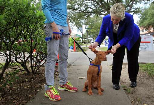 Mayor Annise Parker takes a break and greets 'Jetson' and his owner Beth Sheffield outside the polling location at Christ the King Evangelical Lutheran Church on Election Day on Tuesday, Nov. 5, 2013, in Houston. Photo: Mayra Beltran, Houston Chronicle / © 2013 Houston Chronicle
