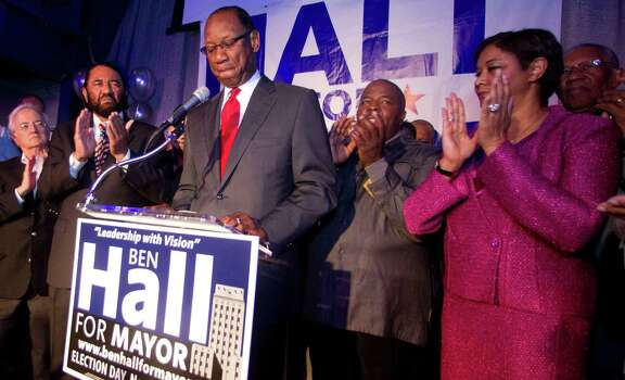 Houston mayoral candidate Ben Hall gives his  concession speech to his supporters at his election night party Tuesday November 5, 2013 at the House of Dereon at 2204 Crawford St. in Houston, TX. Photo: Billy Smith II, Chronicle / © 2013 Houston Chronicle