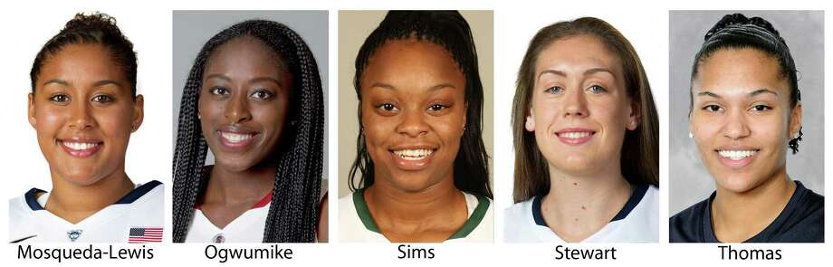 These 2013 photos provided by their respective schools show members of  The Associated Press women's preseason All-America college basketball team released Tuesday, Nov. 5, 2013. From left are: Kaleena Mosqueda-Lewis, Connecticut; Chiney Ogwumike, Stanford; Odyssey Sims, Baylor; Breanna Stewart, Connecticut and Alyssa Thomas, Maryland. (AP Photo/ (AP Photo) ORG XMIT: NY156 / Respective Schools