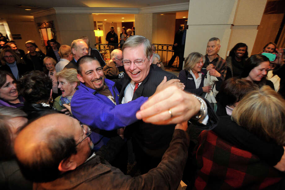 Democratic mayoral candidate David Martin is congratulated by supporters as he enters the room during election night at the Democratic headquarters at the Stamford Mariott in Stamford, Conn., on Tuesday, Nov. 5, 2013. Photo: Jason Rearick / Stamford Advocate