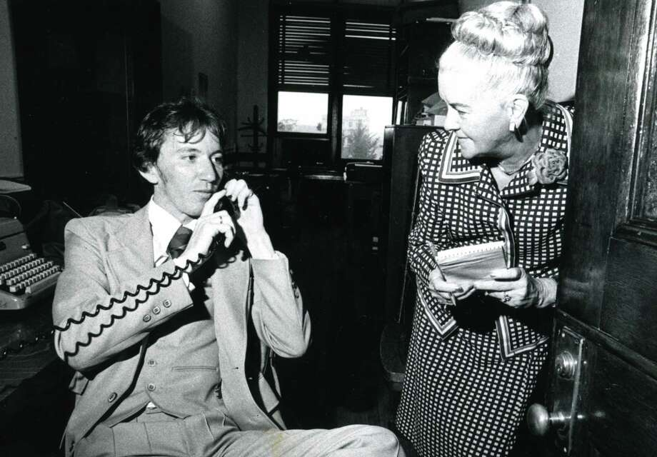Court reporter Shirley Armstrong, right, interviews James Wesley Pembrook Jr. of Denver Colo., who won a child custody case in Albany, July 1979. (Times Union archive)