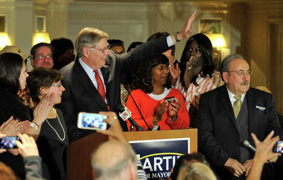 Mayor-elect David Martin waves to his supporters during election night at the Democratic headquarters at the Stamford Mariott in Stamford, Conn., on Tuesday, Nov. 5, 2013. Photo: Jason Rearick / Stamford Advocate
