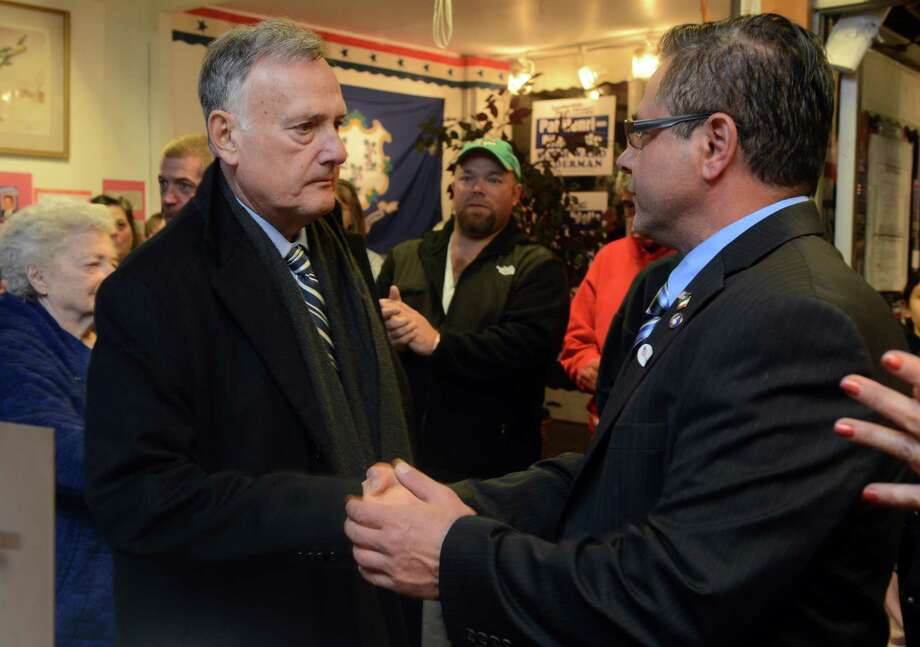 Democratic Mayor James Della Volpe, Ansonia's longest serving mayor, concedes to Republican challenger David Cassetti Tuesday, Nov. 5, 2013 at Republican Headquarters. Photo: Autumn Driscoll / Connecticut Post