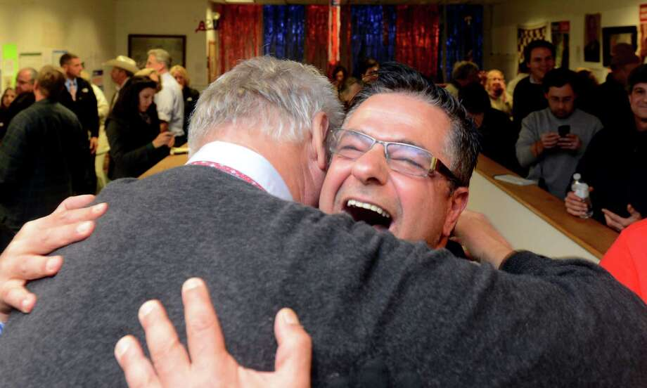 Republican David Cassetti celebrates his win over incumbent Mayor James Della Volpe Tuesday, Nov. 5, 2013 at Republican Headquarters in Ansonia, Conn. Photo: Autumn Driscoll / Connecticut Post