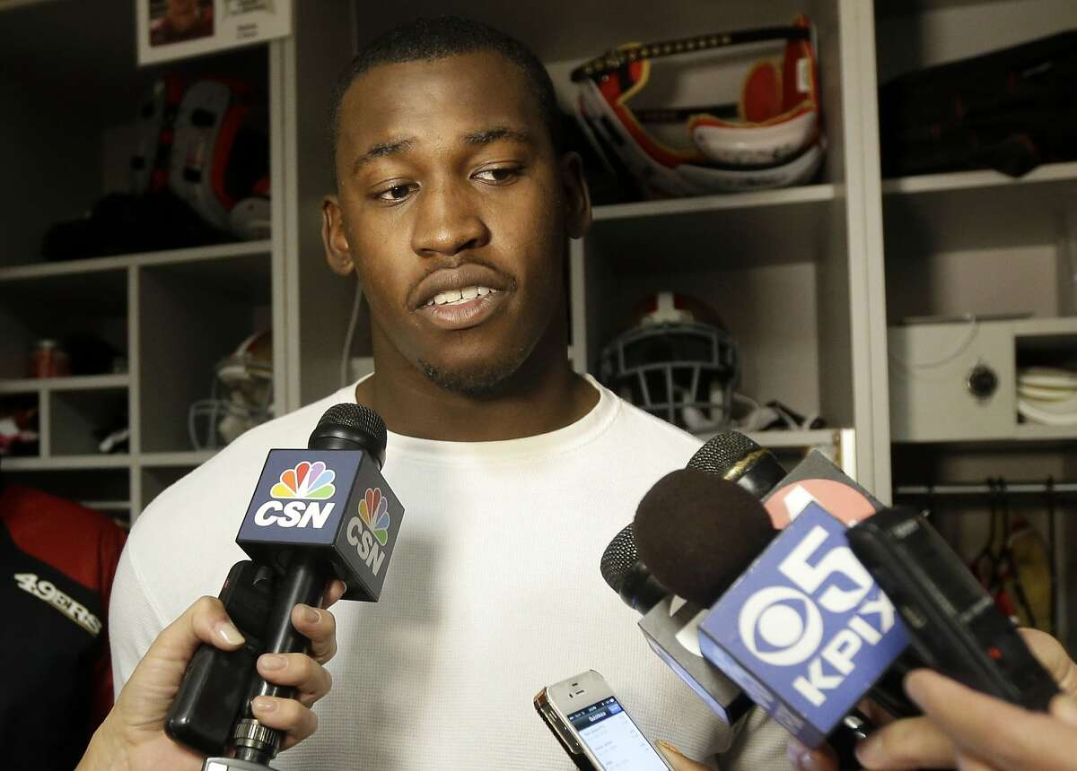 San Francisco 49ers linebacker Aldon Smith fields questions in the team's NFL football practice facility on Tuesday, Nov. 5, 2013, in Santa Clara, Calif. All-Pro linebacker Smith is expected to rejoin the San Francisco 49ers after missing the past five games while undergoing treatment for substance abuse. (AP Photo/Marcio Jose Sanchez)