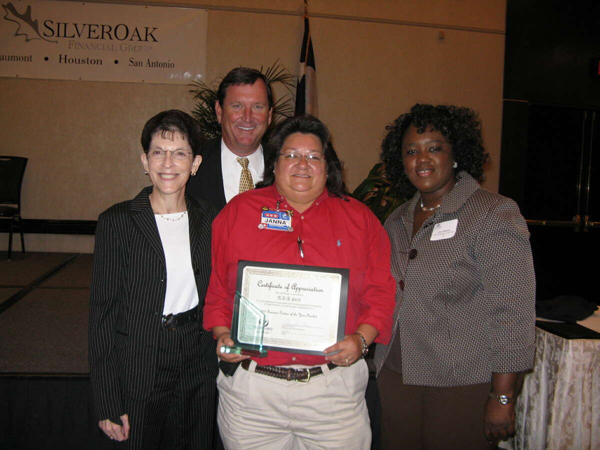 Alief ISD Board President Sarah Winkler, left; Alief ISD Superintendent Louis Stoerner; H-E-B store director Janna Sanchez; and Alief ISD trustee Ann Williams were on hand to celebrate the Houston West Chamber of Commerce's 19th Annual Teacher of the Year & Business Partnership Awards Luncheon. Sanchez was named Business Partner of the Year.