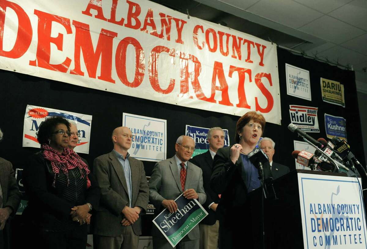 Albany mayor elect Kathy Sheehan, right, gives her victory speech during the Albany County Democratic Committee party at Polish Community Center on Tuesday Nov. 5, 2013 in Albany, N.Y. (Michael P. Farrell/Times Union)