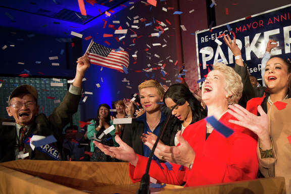 Mayor Annise Parker celebrates her election victory during a campaign party Nov. 5.