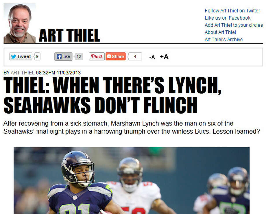 "SportspressNW's Art Thiel  SportspressNW chief and former Seattle P-I columnist Art Thiel was one of many people calling out the Seahawks for not utilizing Marshawn Lynch perhaps as much as they should have, though thanks to overtime Beast Mode -- who felt sick for much of the contest -- did end up with 125 rushing yards for his best game of the season. ""For two weeks in a row, the Seahawks escaped defeat to heavy underdogs only by late heroics,"" Thiel wrote. ""And now, they are at risk of defeat if Lynch perhaps overdoses on Skittles. Even if the opponents are supposedly softer, the margins can't get much thinner."" Photo: Screenshot, SportspressNW.com"
