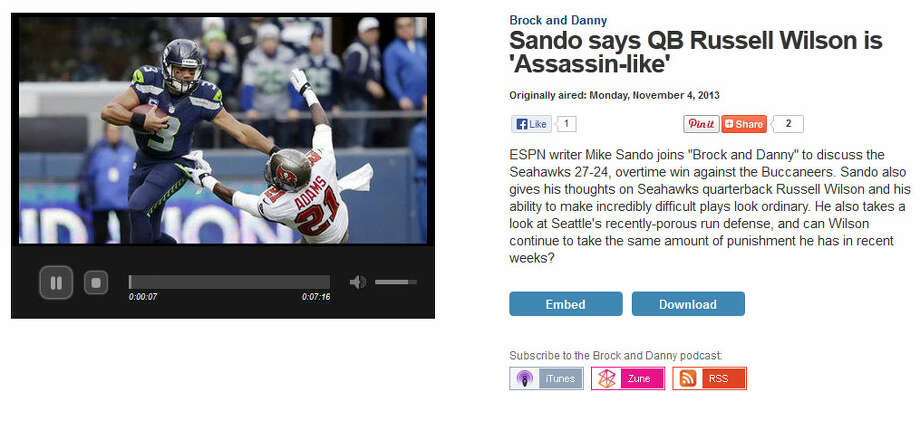 "ESPN's Mike Sando  Former Seahawks reporter Mike Sando, who now covers the whole league for ESPN, appeared on 710 ESPN Seattle radio to tell hosts Brock Huard and Danny O'Neil what he saw in Sunday's Seahawks victory. ""My No. 1 thought was that Russell Wilson will not be available for the team much longer if he takes hits like that,"" Sando said, noting that Wilson took big hits to his knee and his non-throwing arm. ""The amazing thing is that he fires right back and goes down the field. I mean, he is assassin-like."" Photo: Screenshot, 710Sports.com"