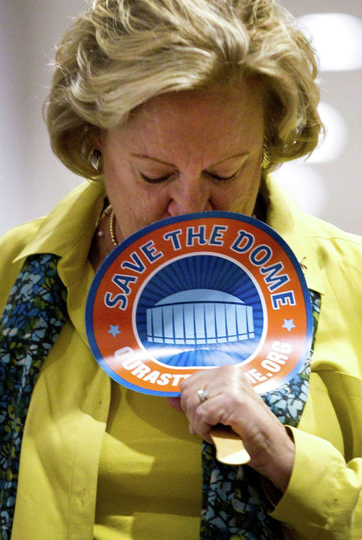 Astrodome renovation supporter Sally Allen reflects the somber mood of Tuesday's watch party at Reliant Center.