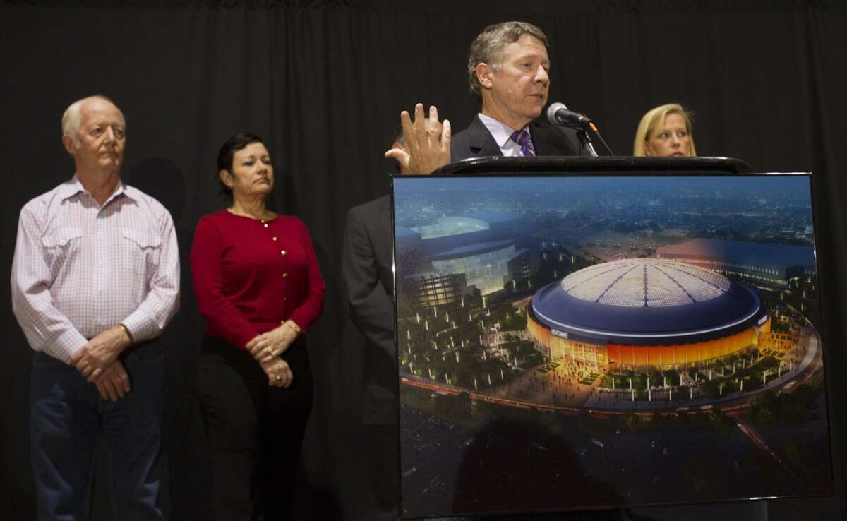 Harris County Judge Ed Emmett announces that the proposition to restore the Astrodome was voted down during an election watch party at Reliant Center Tuesday, Nov. 5, 2013, in Houston. ( Brett Coomer / Houston Chronicle )