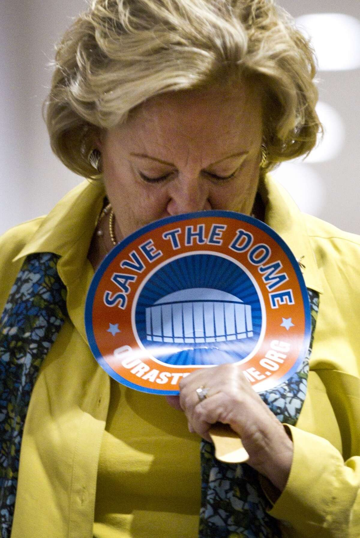 Astrodome renovation supporter Sally Allen, of Kingwood, reacts as it is announced that the proposal to renovate the stadium was defeated Tuesday, Nov. 5, 2013, in Houston. Harris County voters struck down a $217 million proposal to renovate the Astrodome. ( Brett Coomer / Houston Chronicle )
