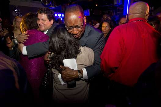 (center) After giving his concession speech Houston mayoral candidate Ben Hall gives hugs to supporters at his election night party Tuesday November 5, 2013 at the House of Dereon at 2204 Crawford St. in Houston, TX.  (Billy Smith II / Houston Chronicle) Photo: Billy Smith II, Chronicle