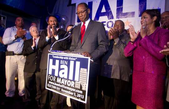 (center) Houston mayoral candidate Ben Hall gives his  concession speech to his supporters at his election night party Tuesday November 5, 2013 at the House of Dereon at 2204 Crawford St. in Houston, TX.  (Billy Smith II / Houston Chronicle) Photo: Billy Smith II, Chronicle