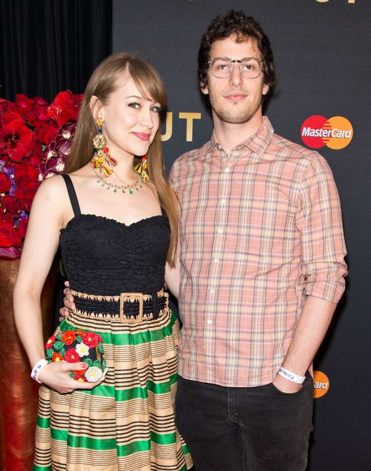 Actor Andy Samberg (R) and his wife musician Joanna Newsom attend MasterCard Priceless premieres presents Justin Timberlake at Roseland Ballroom on May 5, 2013 in New York City. Photo: Gilbert Carrasquillo, FilmMagic
