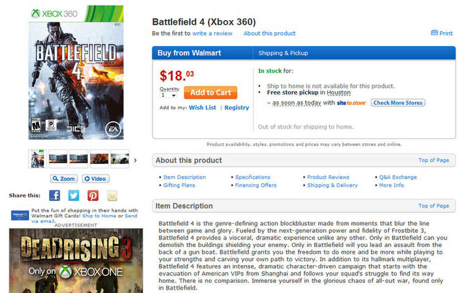 A glitch at walmart.com reduced Battlefield 4 to $18.03. Photo: Willie Jefferson Jr.