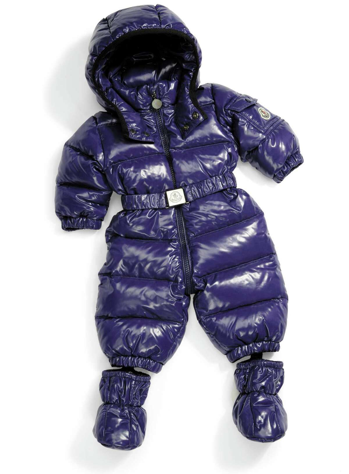 MONCLER Water-resistant onesie snowsuit with detachable boots and belt, $475.