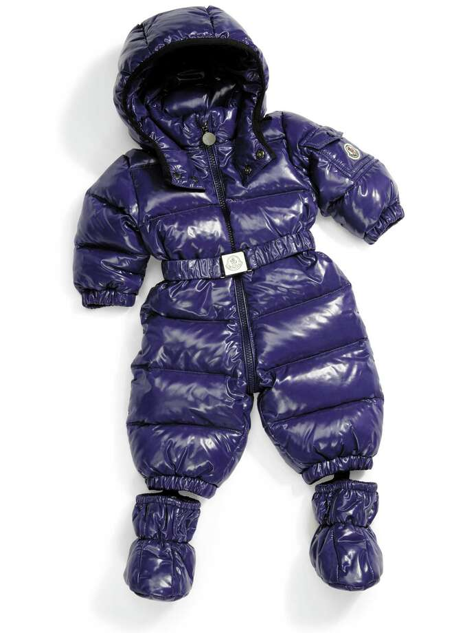 MONCLER Water-resistant onesie snowsuit with detachable boots and belt, $475. Photo: Courtesy Of Saks Fifth Avenue