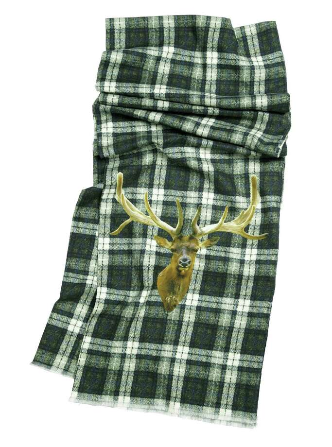 SAKS FIFTH AVENUE BLACK Plaid wool scarf with moose motif, $168. Photo: Courtesy Of Saks Fifth Avenue