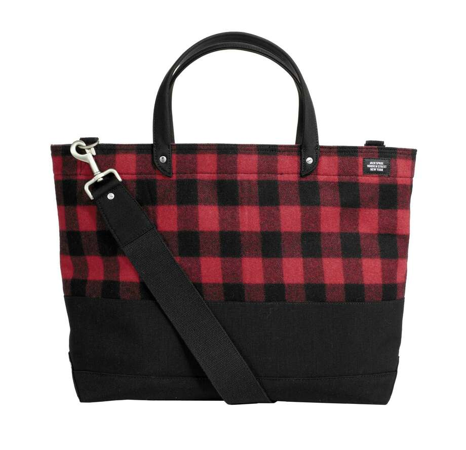JACK SPADE Checked wool utility tote with detachable shoulder strap, $275. Photo: Courtesy Of Saks Fifth Avenue