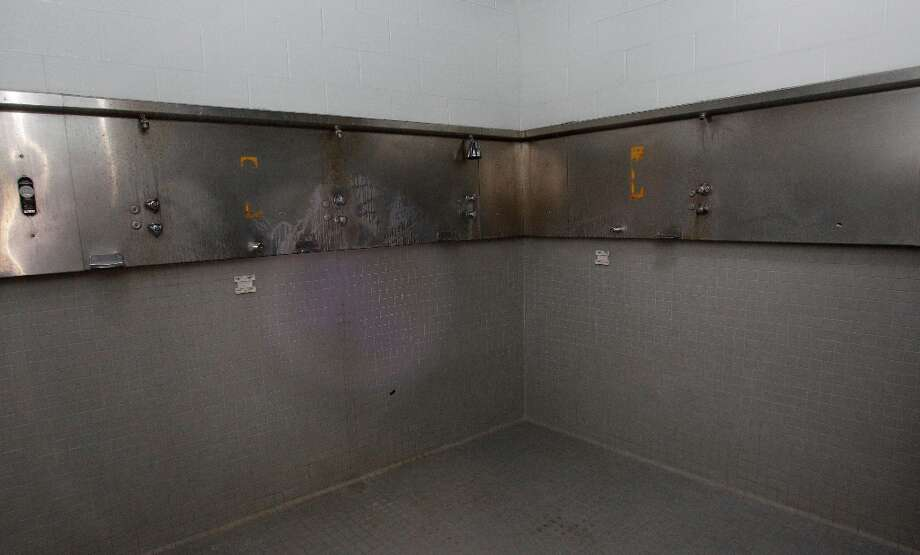 Locker room showers shown during a media tour of the Reliant Astrodome Thursday, March 21, 2013, in Houston. ( Melissa Phillip / Houston Chronicle ) Photo: Melissa Phillip, Houston Chronicle / © 2013  Houston Chronicle