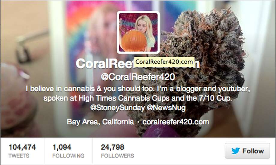 "Bay Area vlogger and full-time stoner lady Coral Reefer posts instructional and entertaining videos like ""Stony Sundays""."