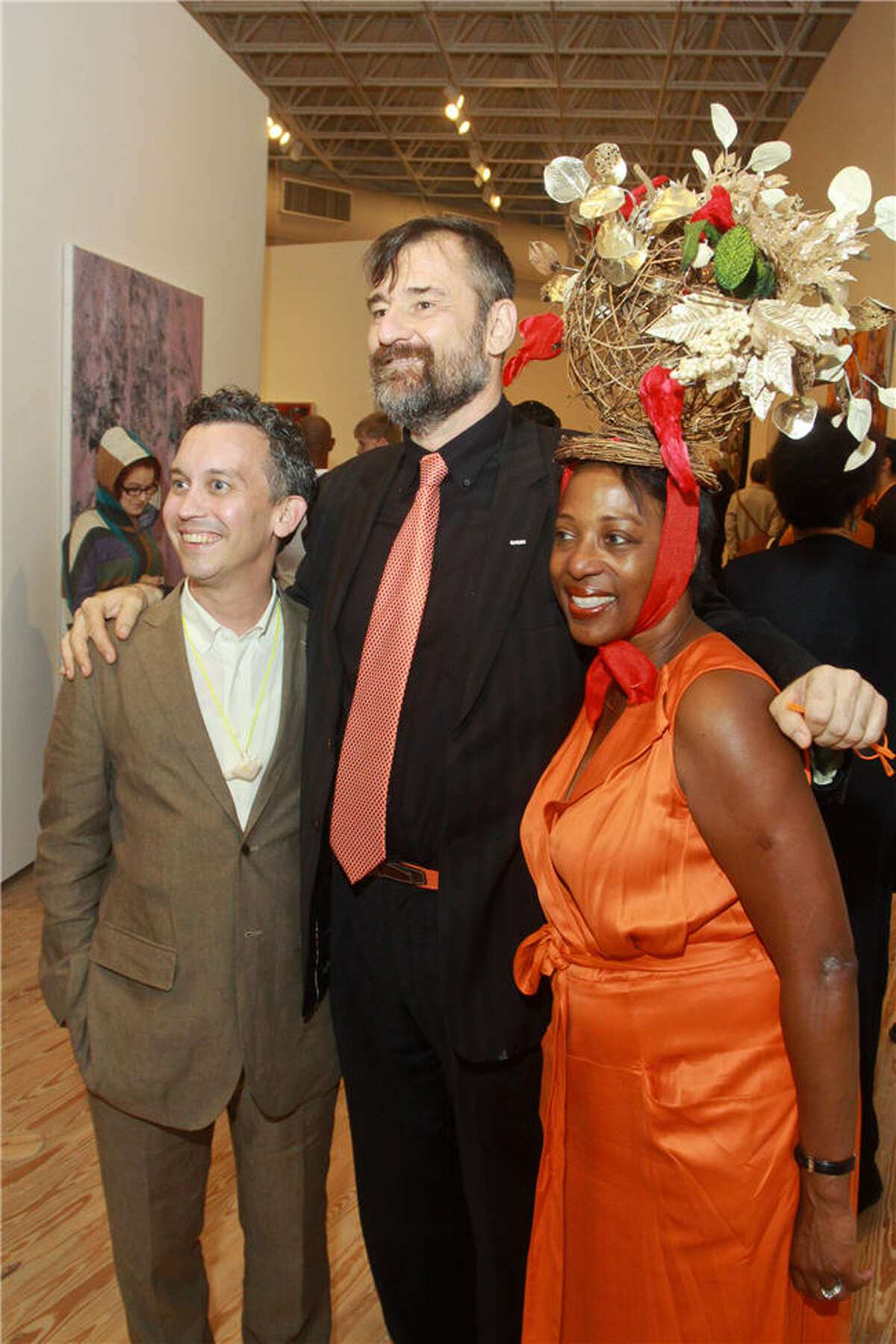 Curator Dean Daderko, from left, director Bill Arning and curator Valerie Cassell Oliver