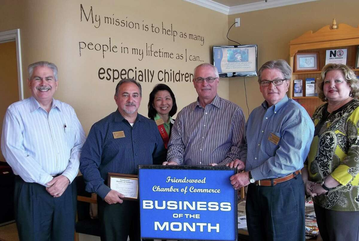 Pictured along with Dr. Pete Lessenger are chamber board of directors member Robert Rinehart, American National Insurance; chairman of the board Bill Provenzano, HomeTown Bank of Friendswood; incoming board of directors member Katherine Ideno, Huntington
