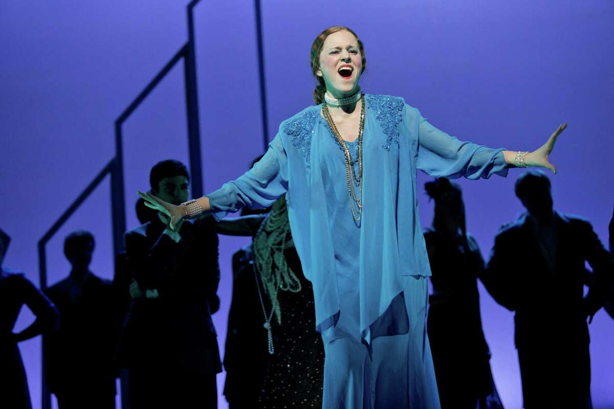 """In her role as Muzzy, Cara McNiff belts out a song in a scene from the Staples Players' production of """"Thoroughty Modern Millie."""" The musical opens Nov. 15 for a run of five performances."""