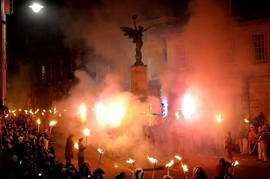 Bonfires burn in Lewes, Sussex, as England celebrates Guy Fawkes Day in England. Fawkes was executed in 1605 after an unsuccessful attempt to blow up the Houses of Parliament. Photo: Leon Neal, AFP/Getty Images