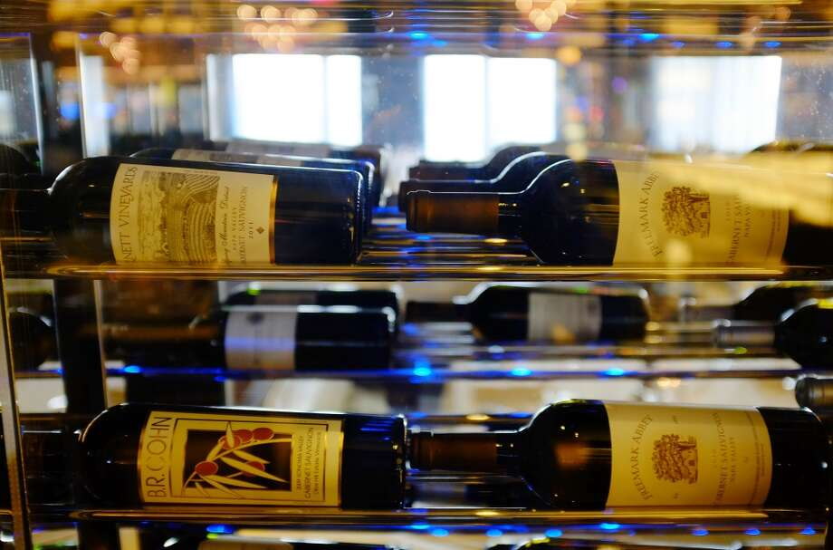 Bottles of California wine are displayed inside the 630 Park Steakhouse at the Graton Resort and Casino in Rohnert Park. Photo: Eric Risberg, Associated Press