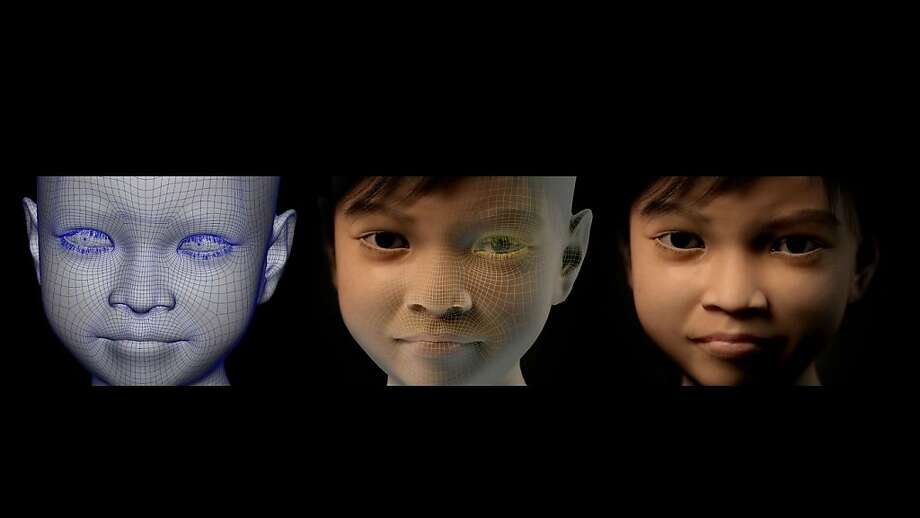 Baiting the pedophiles: This image shows three phases in the creation of the computer-generated 10-year-old Filipino girl called 