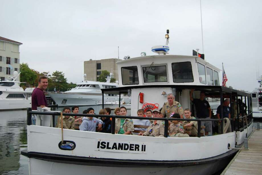 Eighty Boy Scouts from five Greenwich Troops were ferried to Great Captain's Island recently for the annual Fall Boy Scout Camporee, a weekend of camping, cooking, competitions and performing a service project on the Island. Photo: Contributed Photo / Greenwich Citizen