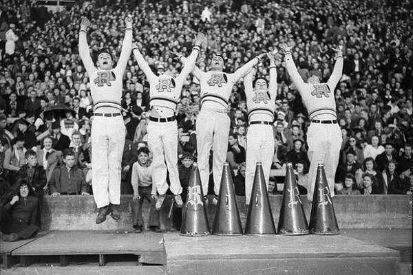 Roosevelt High School cheerleaders at a charity football game, December 1939.