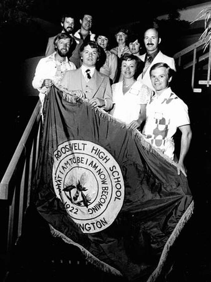 What's going on this picture? The only details available describe this scene as Roosevelt High School students, holding a banner with the school's motto on June 29, 1977.  Photo: P-I File