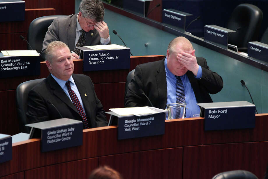 Rob Ford holding his head. Photo: RENE JOHNSTON, TORONTO STAR / TORONTO STAR