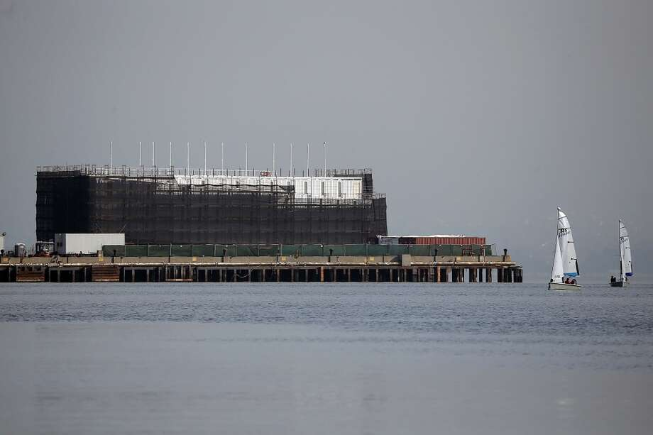 The barge under construction is docked at a pier on Treasure Island on October 30, 2013 in San Francisco. Photo: Justin Sullivan, Getty Images