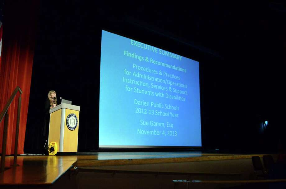 Attorney Sue Gamm presented the executive summary of her independent investigation into the Darien special education on Monday, Nov. 4 in the Darien High School auditorium. Photo: Megan Spicer / Darien News