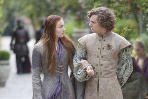 "Sophie Turner as Sansa Stark and Finn Jones as Loras Tyrell star in ""Game of Thrones."""