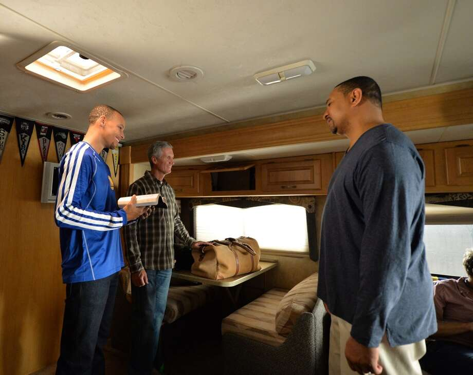 Stephen Curry, Mike Breen and Mark Jackson have a laugh with the crew during the shoot for an ESPN commercial. Photo: Courtesy Of ESPN