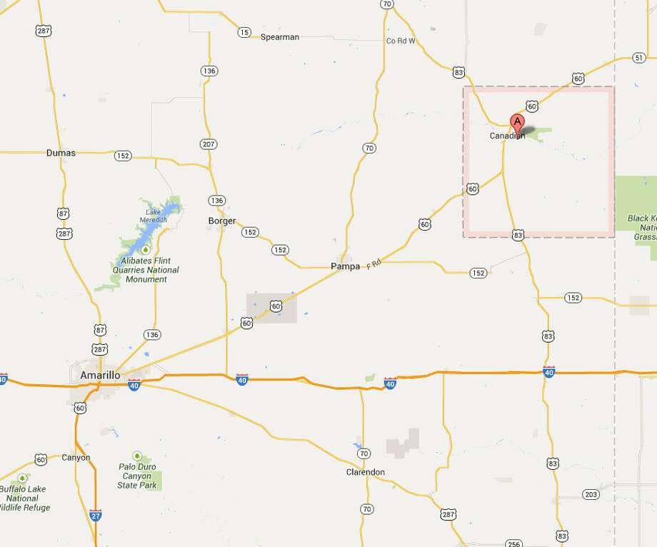 Hemphill County The county is on the Texas and Oklahoma border near Amarillo. Photo: Google Maps