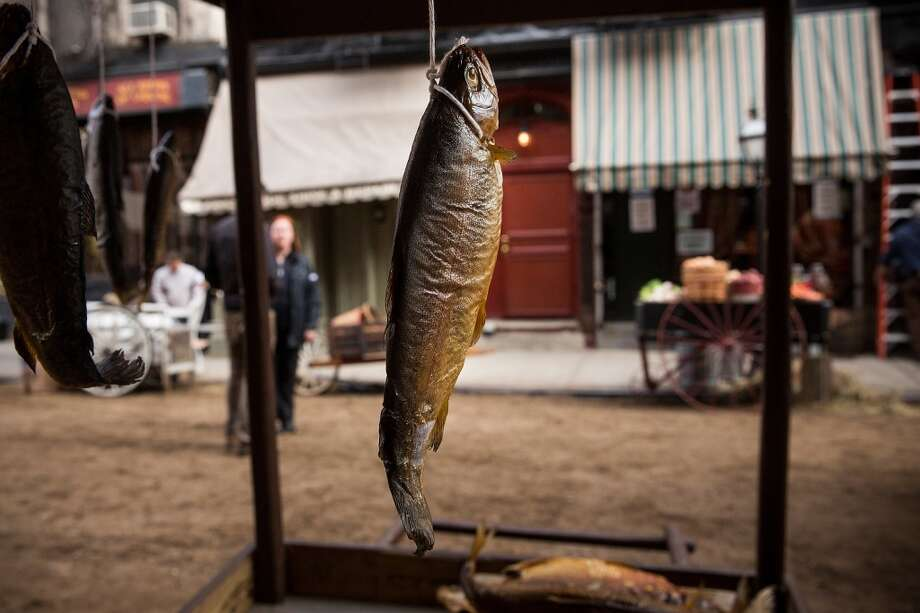 """A dried fish is displayed on set for a television show currently being filmed on November 6, 2013 in the Lower East Side neighborhood of the Manhattan borough of New York City. According to a worker on set, the show is a TV mini-series currently titled """"The Knick,"""" is directed by Steven Sodenburgh and stars Clive Owen. Photo: Andrew Burton, Getty Images"""